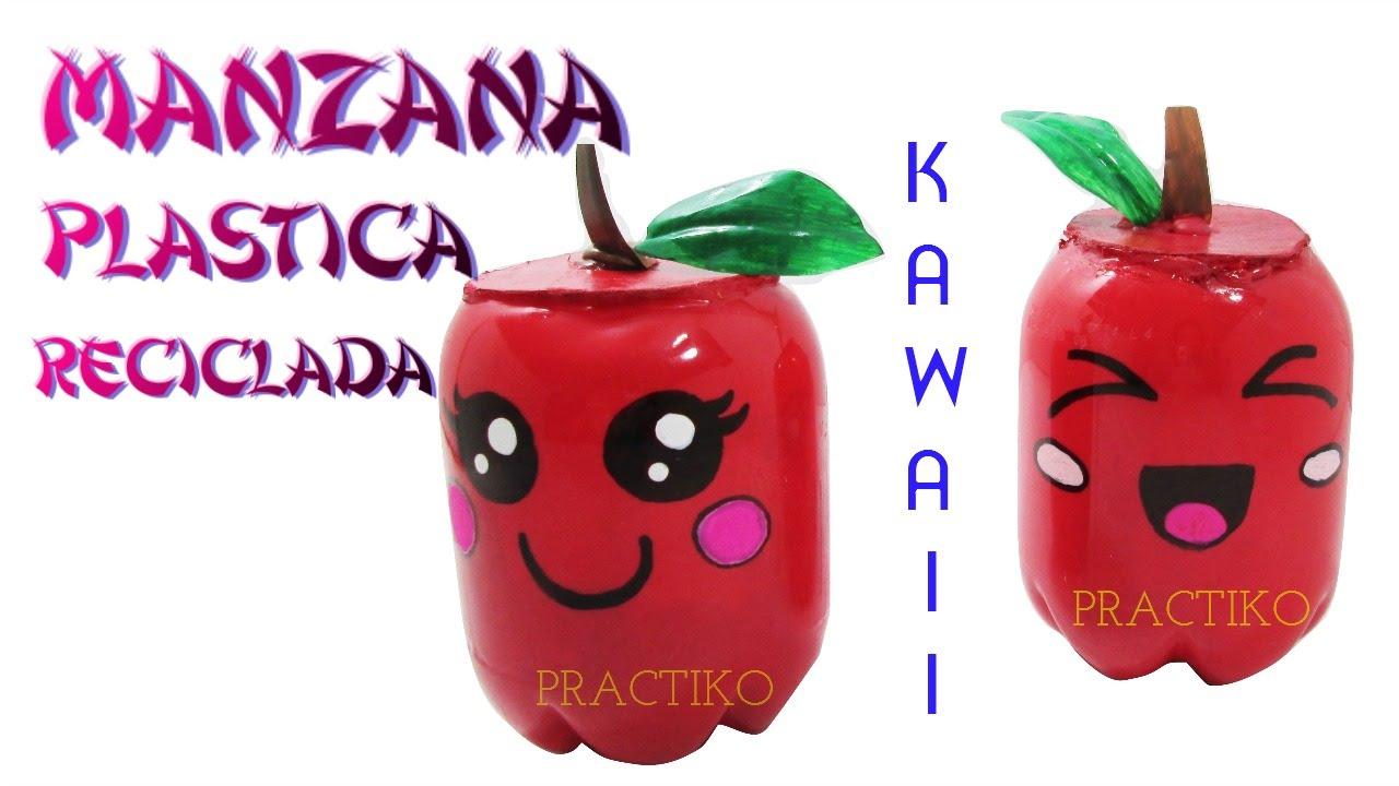 Manualidades de manzanas kawaii usando botellas recicladas de pl stico practiko youtube - Manualidades recicladas para decorar ...