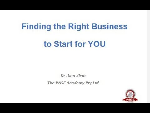 Finding the Right Business to Start for You video
