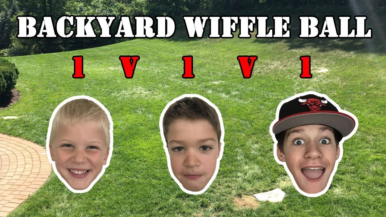 backyard wiffle ball 1v1v1 with my little bros youtube
