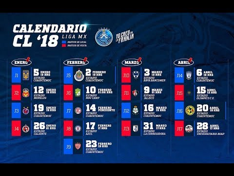 Calendario 2018 Tigres