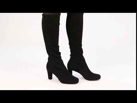 e914e7a98dd3c Peter Kaiser Ofela Black Suede Pull On Classic Long Boots - YouTube