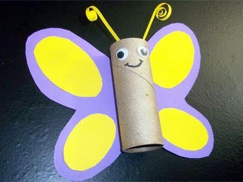 Manualidades de reciclaje: mariposa con tubo de papel de cocina ...