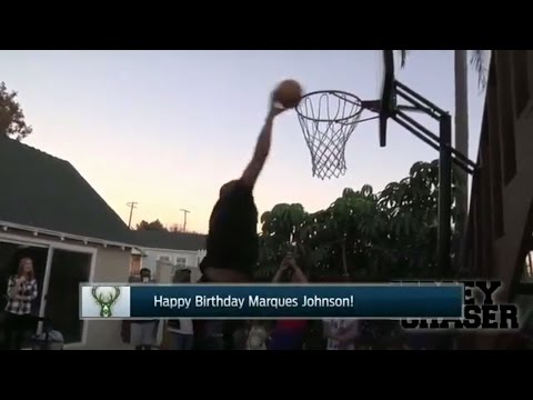 Marques Johnson dunks on his 60th birthday