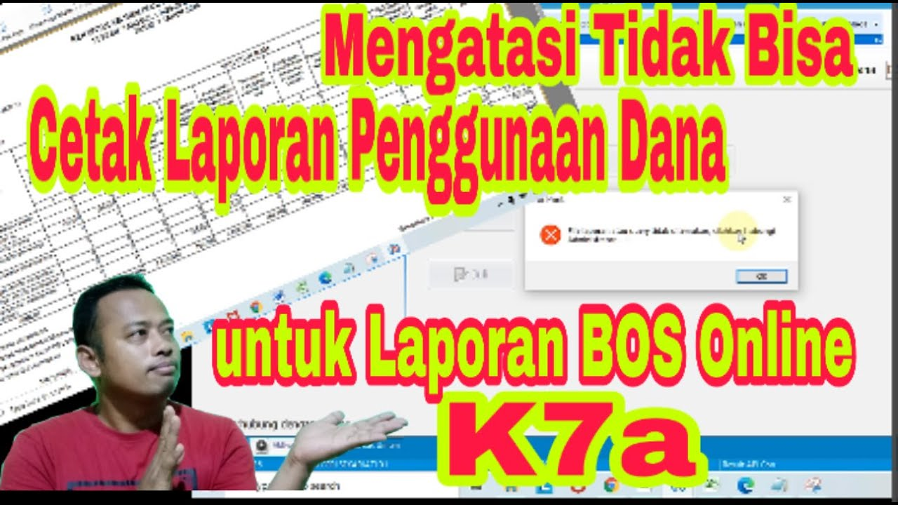 Cara Cetak Laporan Penggunaan Dana Bos K7a Print Realisasi Anggaran Untuk Laporan Bos Online 2020 Youtube