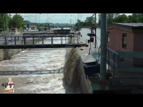 Hochwasser Neckar Schleuse Kochendorf 31.5./1.6./2.6.2013