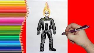 How to draw Ghost Rider, Как нарисовать Призрачного Гонщика