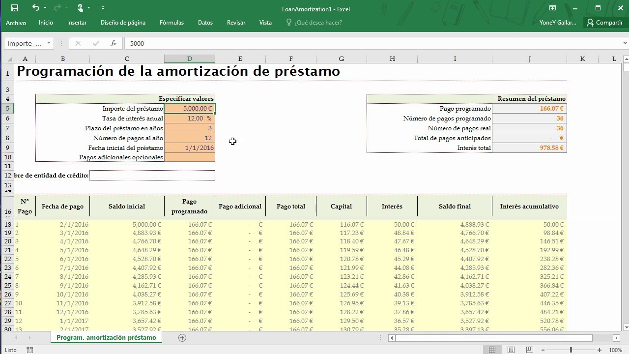 Plantillas en Excel 2016 - YouTube