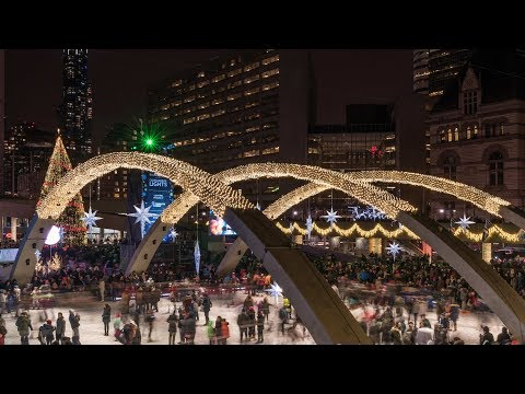 Cavalcade of Lights 2017 Lighting of Christmas Tree Nathan Phillips Square Toronto Downtown Canada