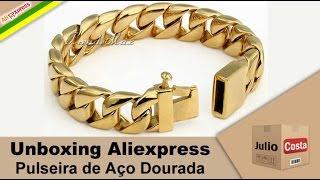 Unboxing Aliexpress - Pulseira de Aço Dourada