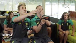 Aussie Stars play Ashes Cricket video game
