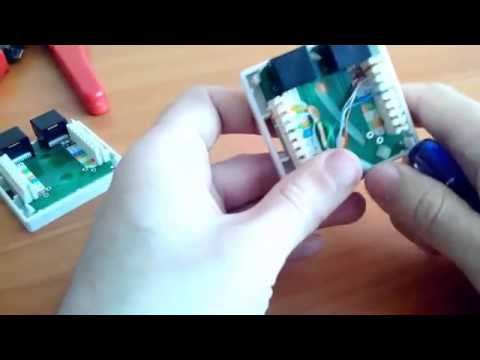 Подключение сетевого кабеля к двух портовой розетке - YouTube