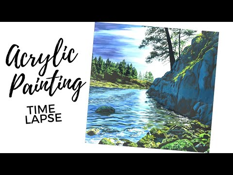 Painting Tutorial / Seascape Painting (Time Lapse Painting)