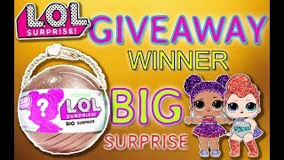 LOL SURPRISE BIG SURPRISE GIVEAWAY WINNER ANNOUNCEMENT WITH THE GIANT GOLD LIMITED EDITION LOL BALL