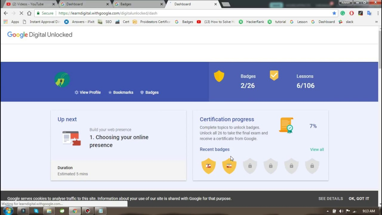 Google Digital Unlocked 2nd badge answer (Your first steps in online  success)