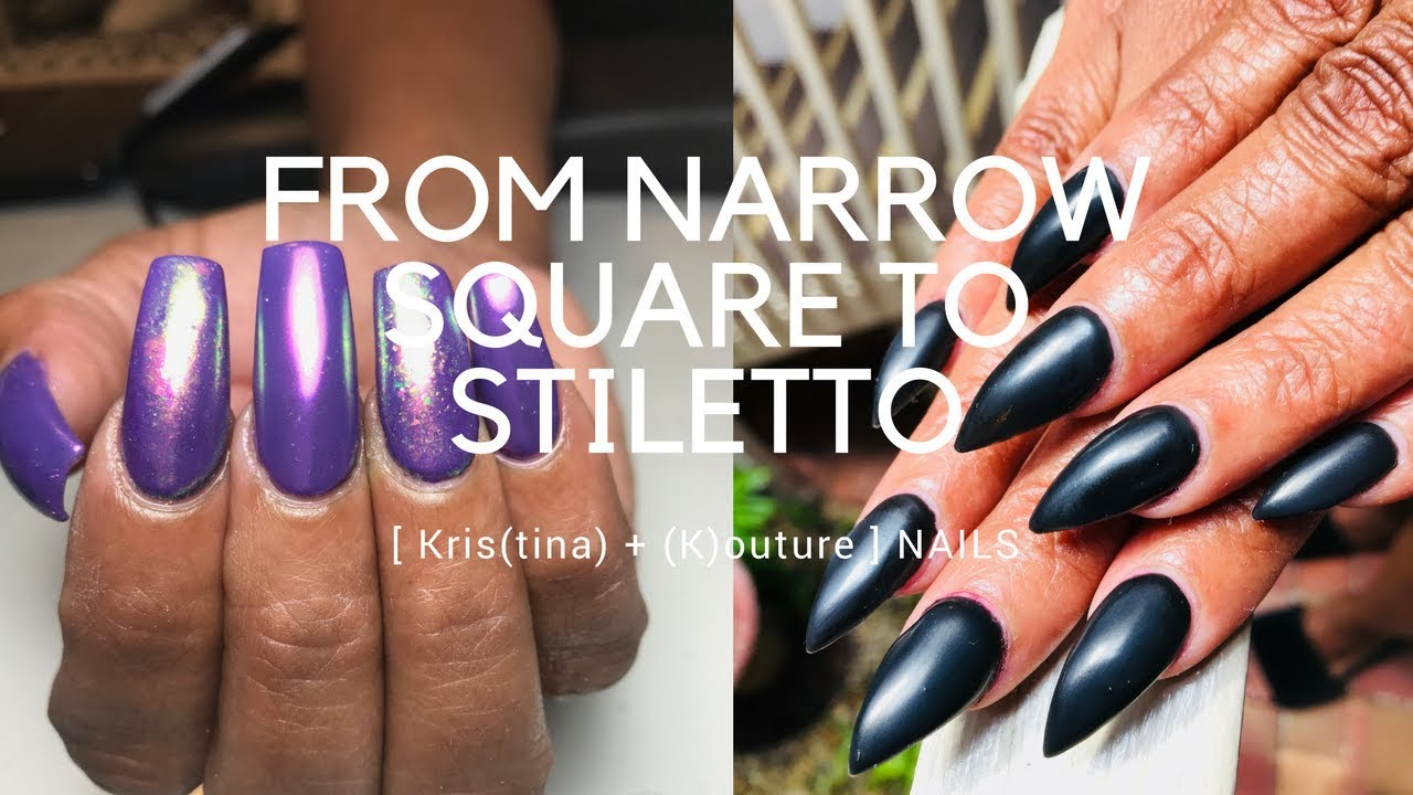 How I Change The Shape from Narrow Square to Stiletto - YouTube