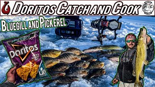 Ice Fishing Bluegill Catch and Cook Using Humminbird Helix 7 Epic Fail and Food Doritos Breading