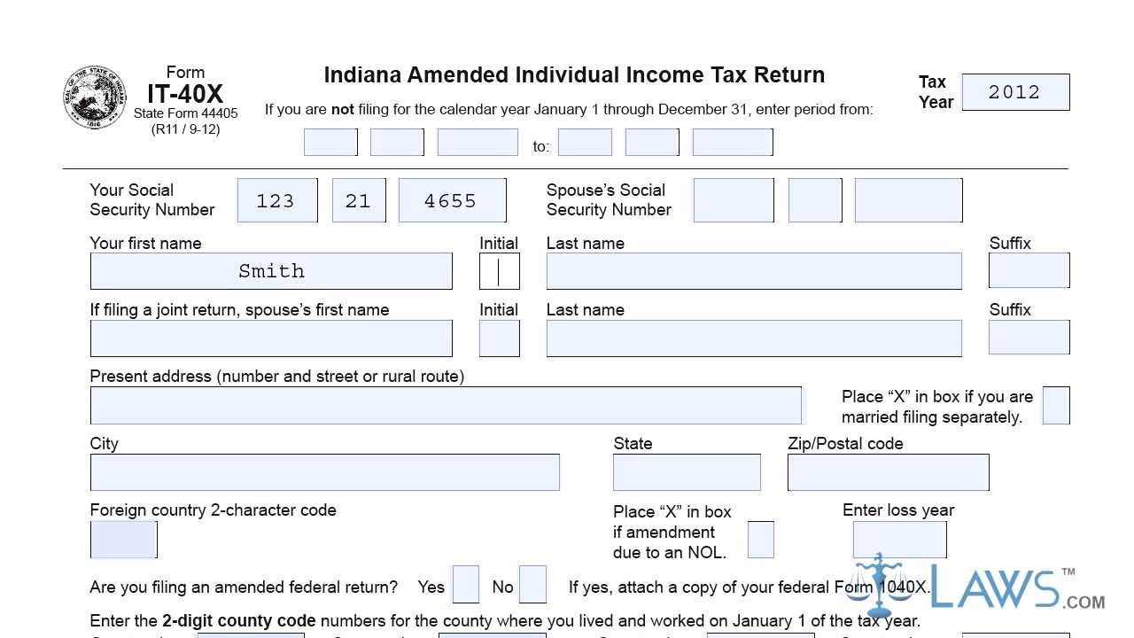 Form IT 40X Indiana Amended Individual Income Tax Return - YouTube