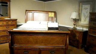 Oak Sleigh Bed With Footboard Storage