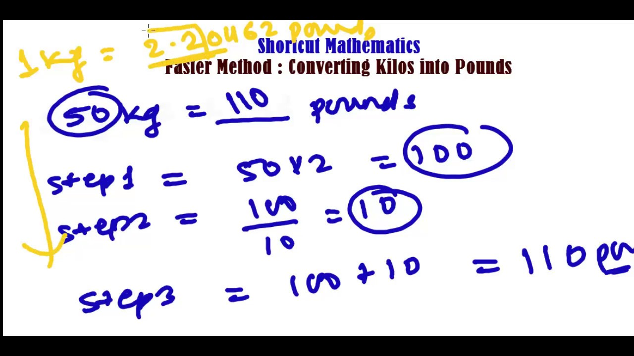 Pounds In Kg Fast Method To Convert Kg To Pounds Lbs Unit Conversation Trick Fast Math Calculation
