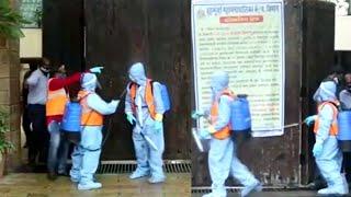 BMC Workers Sanitize Amitabh Bachchan House In Mumbai   IndiaGlitz Telugu