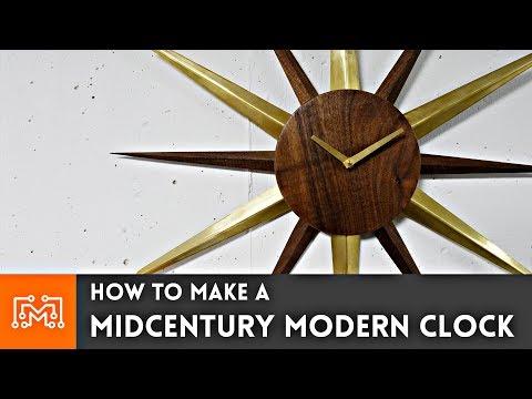 Mid-Century Modern Clock // Woodworking & Metalworking