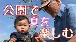生後9ヶ月赤ちゃんの公園ライフ!じぃじと新緑を楽しむ🌿☘️🌲