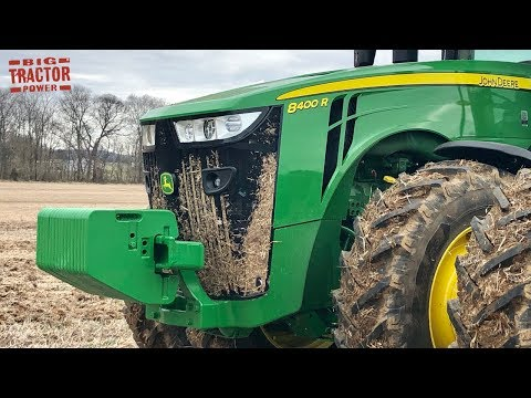 John Deere 8400R Tractor Subsoiling Ground in January 2019