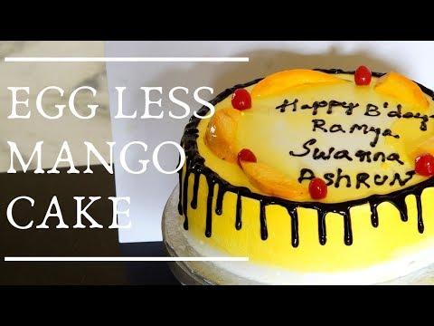 Eggless Mango Cake - How To Make Mango Cake - Cake Decoration