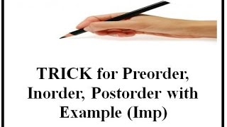 TRICK for Preorder,Inorder,Postorder with Example (Imp)