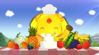 Learn to Fruit with Bru Make a cake Fruit topping Fruit name Learn the words kids