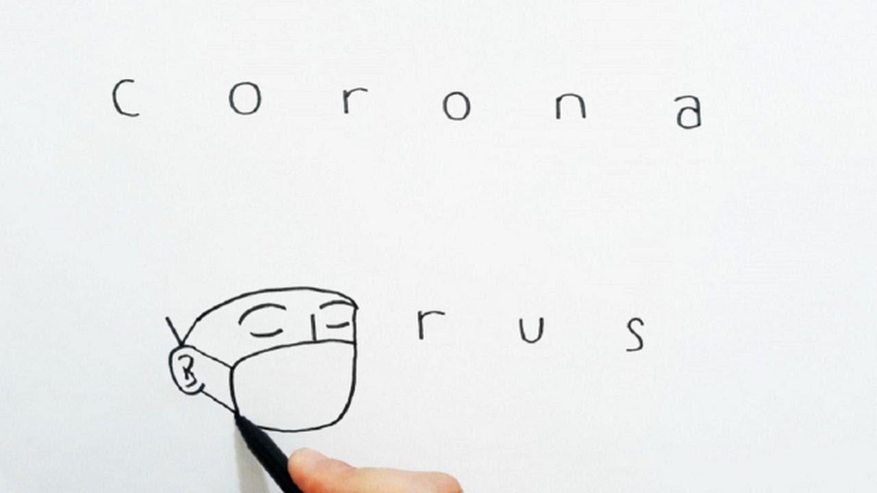 Corona Virüs Yazısını Resme Çevirme / how to turn words CORONA VIRUS into sad picture