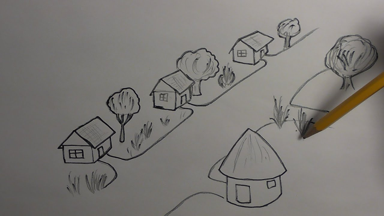 how to draw a village youtube - How To Draw 3d Diagrams