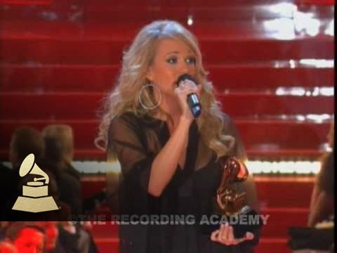 Carrie Underwood accepting the GRAMMY for Best New Artist at the 49th GRAMMY Awards | GRAMMYs