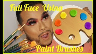 Doing A Full Face of Makeup with Paint Brushes Challenge