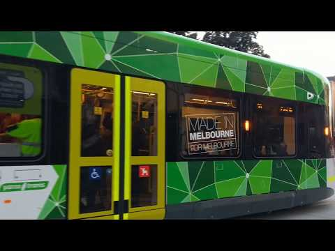 E2 tram 6051 first day in service on route 96 in Melbourne. Bombardier Flexity E Class.