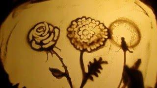 Урок песочной анимации: простое рисование цветов