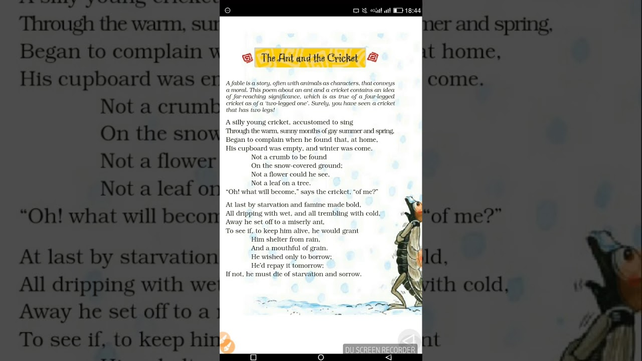 ant and cricket poem 8th