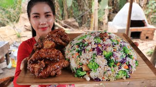How to cook Rice fry with chicken crispy recipe