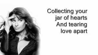 Glee- Jar of Hearts- Lyrics on Screen