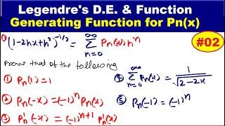 #12 Generating function for Legendre  function of first kind  | Legendre's Function