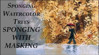 Sponging Trees in Watercolor - Sponging With Masking - Watercolor Basics and More by Deb Watson