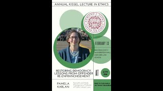 Annual Kissel Lecture in Ethics with Pamela Karlan - February 13, 2020