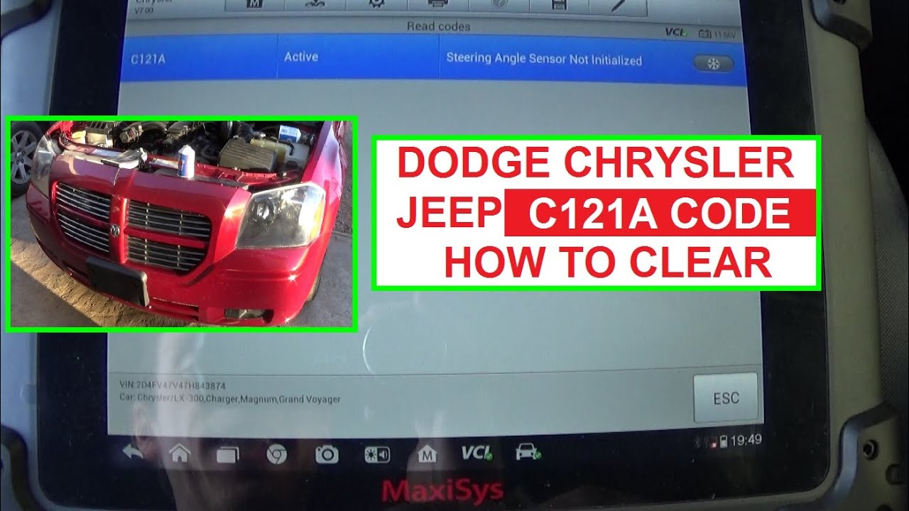 Code C121a Steering Angle Sensor Not Initialized Dodge Chrysler Jeep 1996 Avenger Fuse Box Diagram How To Calibrate