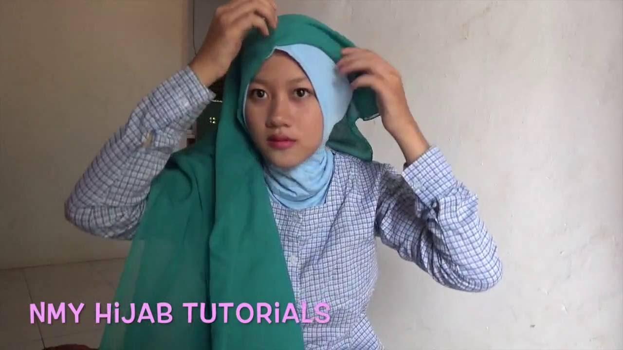 15 Tutorial Hijab Segi Empat Dua Warna Simple Terbaru Hijabyuk Com