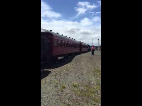 Kiwi Rail passes the Eketahuna Express at Woodville January