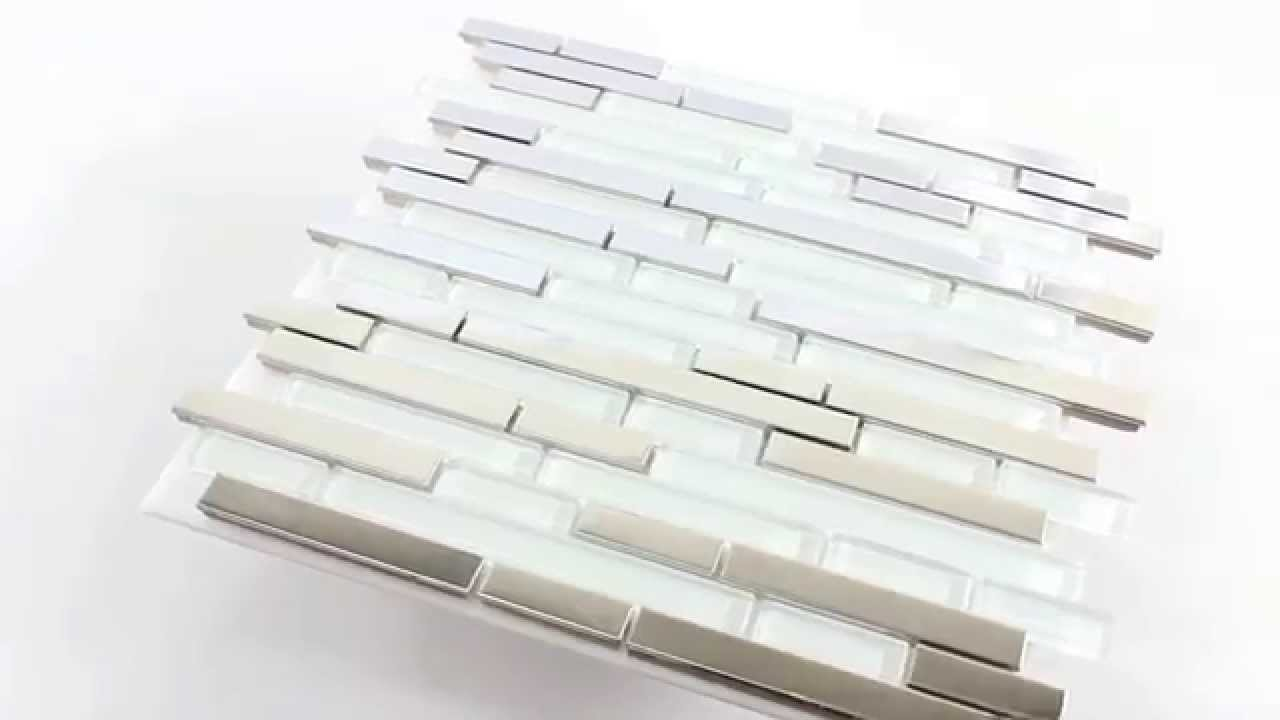 Mosaikfliesen weiß  Mosaikfliesen Metall Glas Mix Silber Weiss - YouTube
