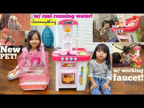 Kids' Cooking Kitchen Playset with Real Running Water! Hulyan and Maya's New Pet, Parakeet Birds