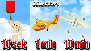 Minecraft BUDUJĘ SAMOLOT W 10 SEKUND, 1 MINUTĘ I 10 MINUT!