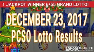 PCSO Lotto Results Today December 23, 2017 (6/55, 6/42, 6D, Swertres, STL & EZ2)