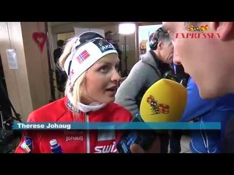 Therese Johaug har lite svårt för Svenska